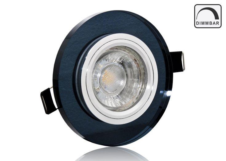 LED Einbaustrahler Set dimmbar mit Marken GU10 LED Spot LC Light 5 Watt schwarzes Kristallglas rund 35 Watt Ersatz