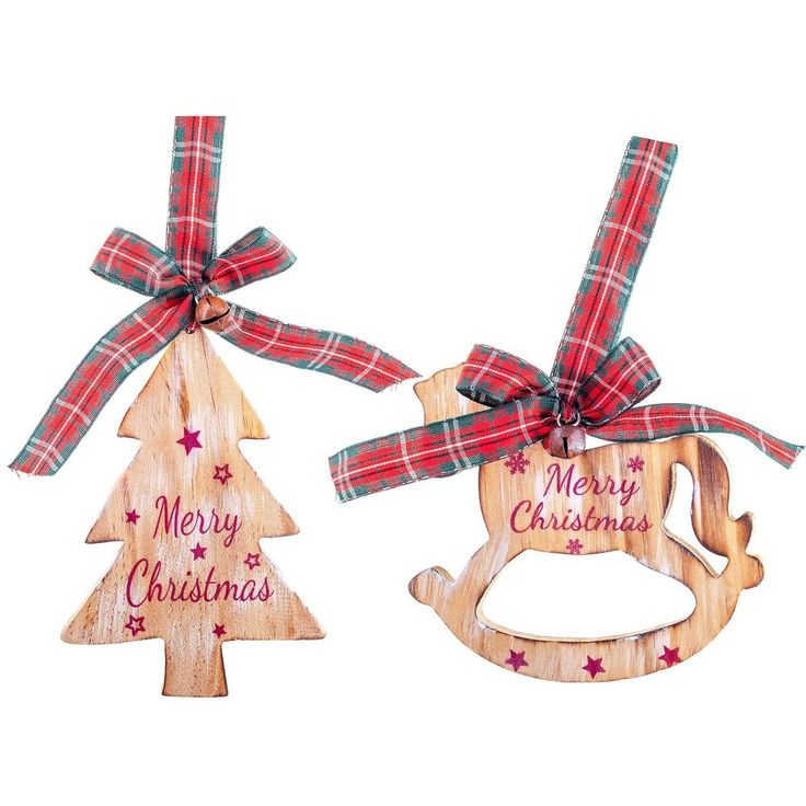 Wooden Christmas Tree Decorations Rocking Horse 'Merry Christmas' Rustic Xmas #TheChristmasBoutique #Christmas