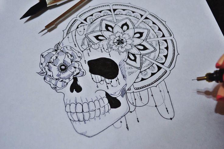 By Irina Vinogradova  Skull rose art drawing black sketch dotwork