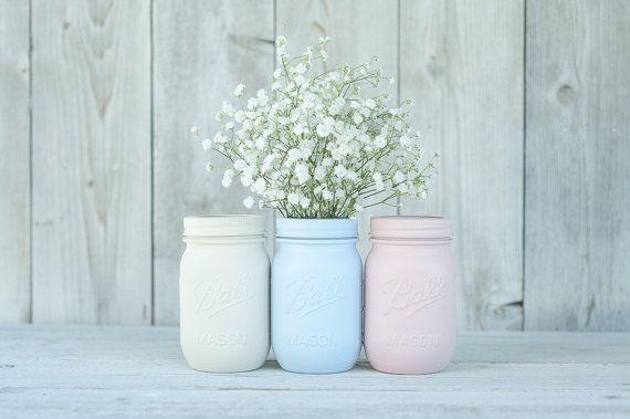 Painted mason jar baby shower decor. Pastel centerpieces.