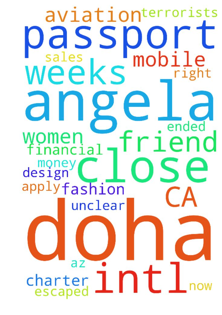 Please pray for my very close friend, Angela from CA -  Please pray for my very close friend, Angela from CA that went to Doha & Dubai on a fashion design assignment that ended when she & 5 other women in their homes in Doha were kidnapped by terrorists for up to 4 weeks. She prayed earnestly and all of the women escaped back to Doha. Her passport, work visa, money, mobile, everything taken. I hear from her every 2 weeks right now and unclear as to her safety and location. Please pray for a…