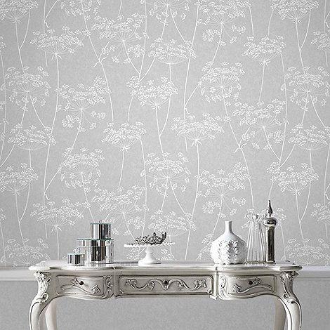 Superfresco Easy Grey Aura Sprig Motif Wallpaper Debenhams Wallpaperliving Room