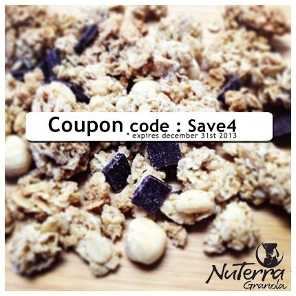 Did you know that you now can buy our #Delicious #Fairtrade #Granola online ! use the #coupon code : save4 on checkout to #save $4 off an 8 Pack !  http://www.nuterracereal.com/