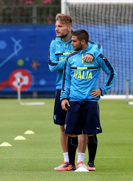 "Ciro Immobile (L) and Lorenzo Insigne of Italy chat during the training session at ""Bernard Gasset"" Training Center on June 18, 2016 in Montpellier, France."