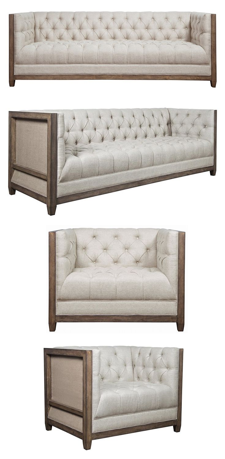 Featuring An Exposed Wood Frame In A Light Oak Finish This Deconstructed Sofa Is The Perfect Farmhouse Centerpiece For Furniture Mattress Furniture Wood Sofa
