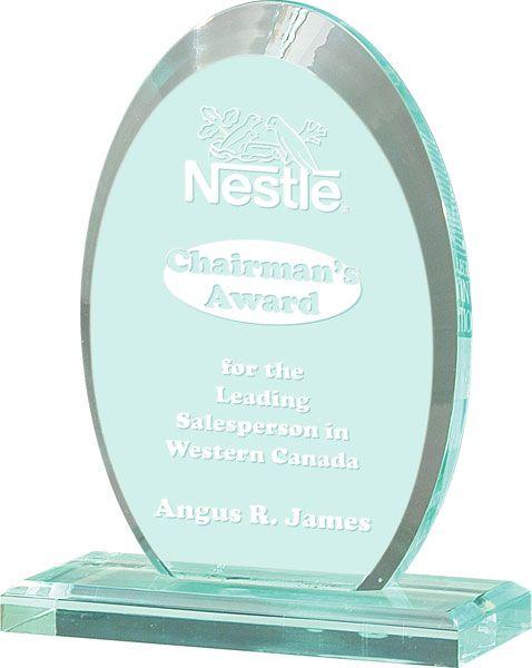 Jade Vertical Oval Acrylic Award