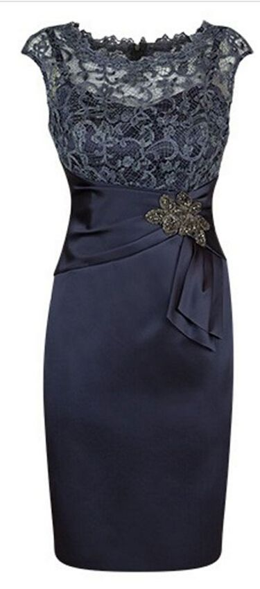 Satin wedding party dresses,mother of the bride dresses 2016,navy blue mother's dresses,lace top dresses for women