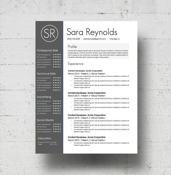 Hervatten sjabloon & sollicitatiebrief Template - de Sara Reynolds CV ontwerp - Instant Download - Word Document - CV-Template - aangepaste kleuren!