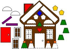 Gingerbread House Shape Match Print the pages.  Cut apart and laminate.  Have the children put the matching shapes on the house.  The house could be glued to the inside of a file folder to make a file folder activity.