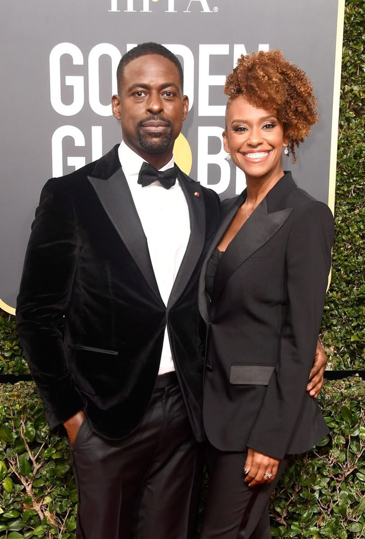 """This is Us"" star Sterling K. Brown, in an Isaia tuxedo, and wife Ryan Michelle Bathe, in a near matching suit jacket, stunned on the red carpet at The 75th Annual Golden Globe Awards at The Beverly Hilton Hotel on January 7, 2018 in Beverly Hills, California."