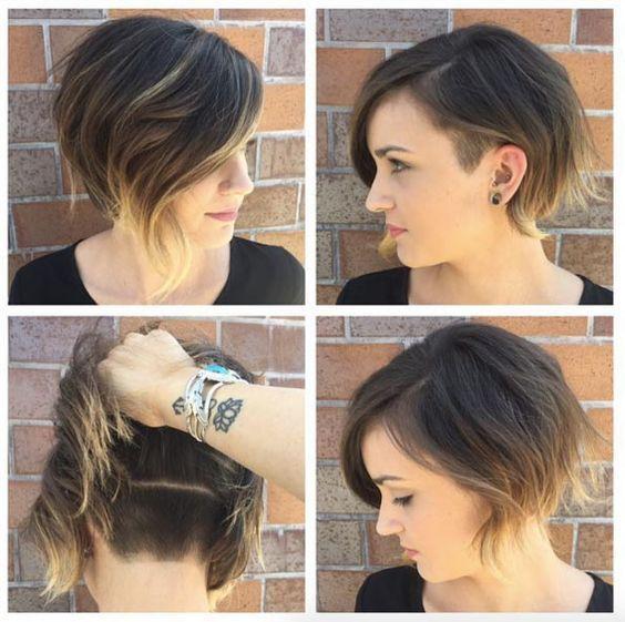 Soft undercut bob by Katie Sanchez Bob Haircut With Undercut, Shaved  Undercut, Growing Out