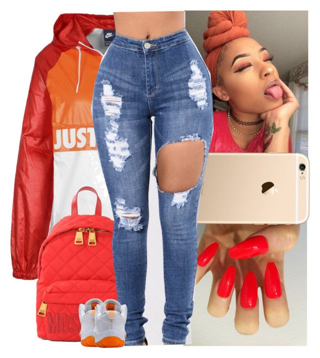 """nike windbreaker contest"" by danny-baby-xoxo ❤ liked on Polyvore featuring NIKE and Moschino"