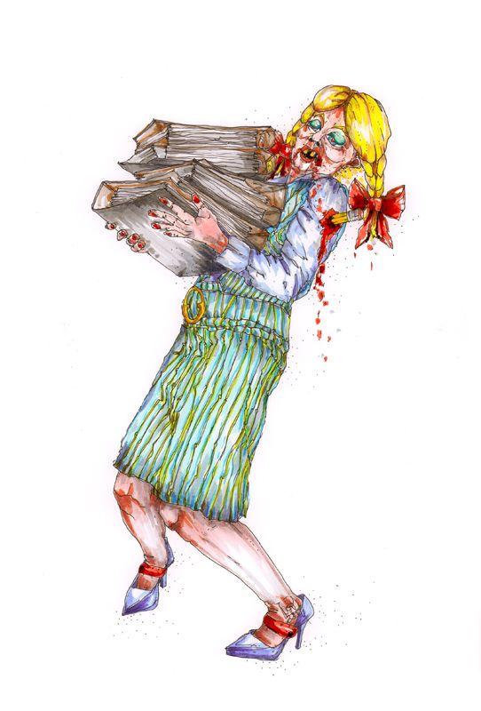 Frl. Nimmich – Vogeler: in ihrer Funktion als Schulsekretärin und Kult - Blondine ist sie meist ihren beruflichen Herausforderungen nur mühsam gewachsen und hat natürlich immer ihre ganz eigene Meinung und Wahrheit über ganz alles.  Bild und Text © Nadja Schüller - Ost, 2016 #nadjaschuellerost#frl.nimmich_vogeler#candice_end_frendz#graphic_novel#scetch#illustration