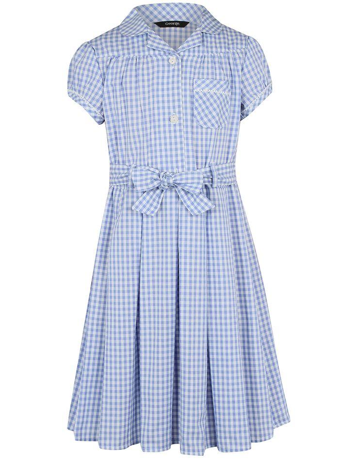 Girls School Gingham Dress – Light Blue | School | George at ASDA