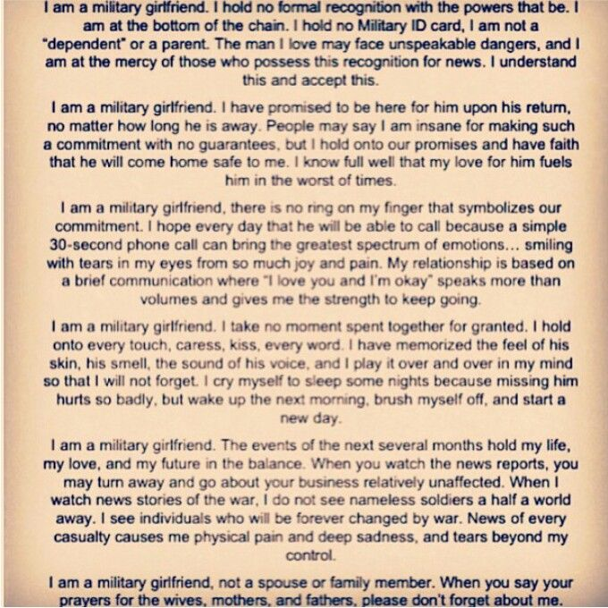 Military girlfriend quote Milso quote
