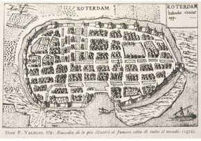 Plattegrond van Rotterdam 1558-1563 (© Gemeentearchief Rotterdam)