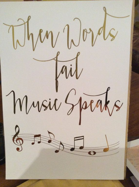 "Inspirational Quote Music Poster ""When Words Fail Music Speaks"", Gold Foil Print Music Notes Wall Art, Typography Art, Music Teacher Gift"