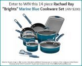 14 Piece Rachael Ray Marine Blue Cookware Set Giveaway  Open to: United States Ending on: 06/12/2017 Enter for a chance to win a Rachael Ray Brights 14 Piece Cookware Set in Marine Blue ARV $200. Enter this Giveaway at Souffle Bombay  Enter the 14 Piece Rachael Ray Marine Blue Cookware Set Giveaway on Giveaway Promote.