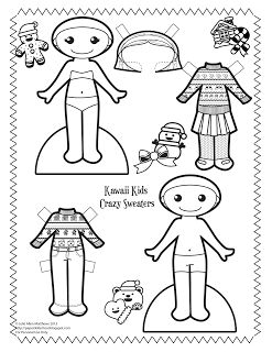 Kawaii Kids 2013: Crazy Sweaters! Black and white crazy sweater paper doll to color