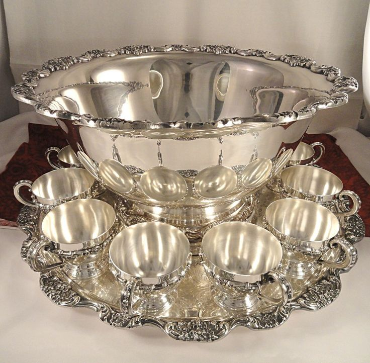 poole lancaster rose silver plate vintage punch bowl set with under tray 12 cups bar porn. Black Bedroom Furniture Sets. Home Design Ideas
