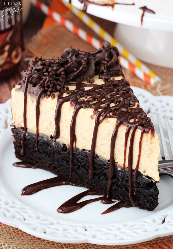 Pumpkin Chocolate Brownie Cheesecake. The best marriage I've seen this fall!
