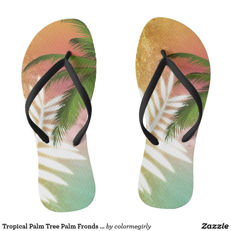 Tropical Palm Tree Palm Fronds & Gold Metallic Flip Flops - palm tree, palm trees, palm fronds, tropical, gold, metallic, beach, ocean, vacation, colorful, flip-flops, flip flops, flipflops, shoes, fashion, gift idea, gift ideas