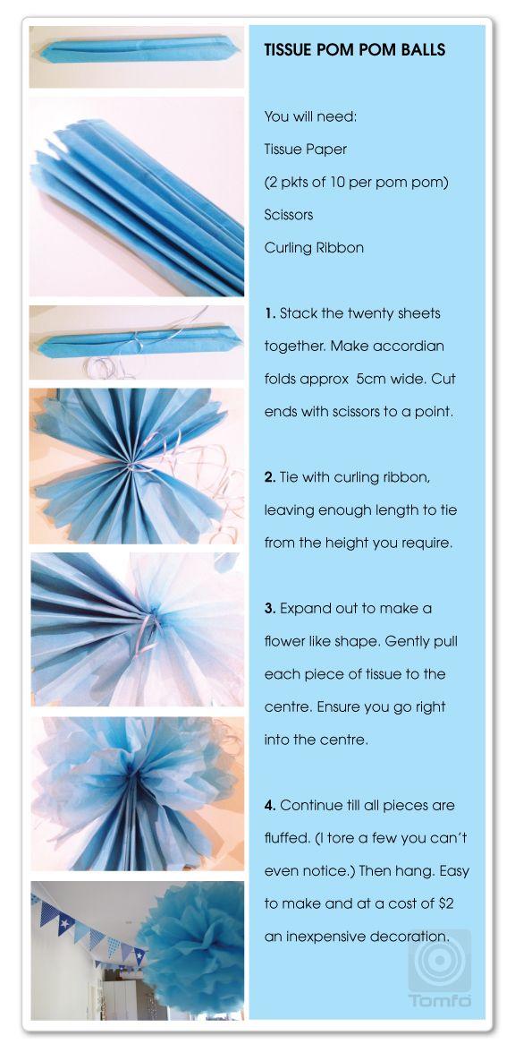 How to make a tissue paper garland. Plus The Malteser Chocolate Cake + Tissue Pom Pom Balls + Party Games Tomfo.com