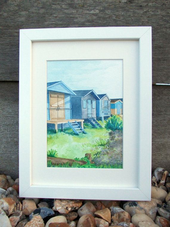 Whitstable Beach Huts along the Kent Coast. Available as a print and greeting card.  Etsy listing at https://www.etsy.com/listing/224388010/whitstable-beach-huts-ready-for-summer