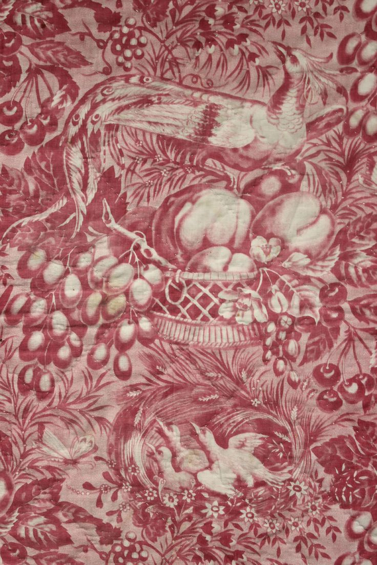 Antique French Toile De Alsace Bird Pink Printed Valance Pelmet Textile  C1830