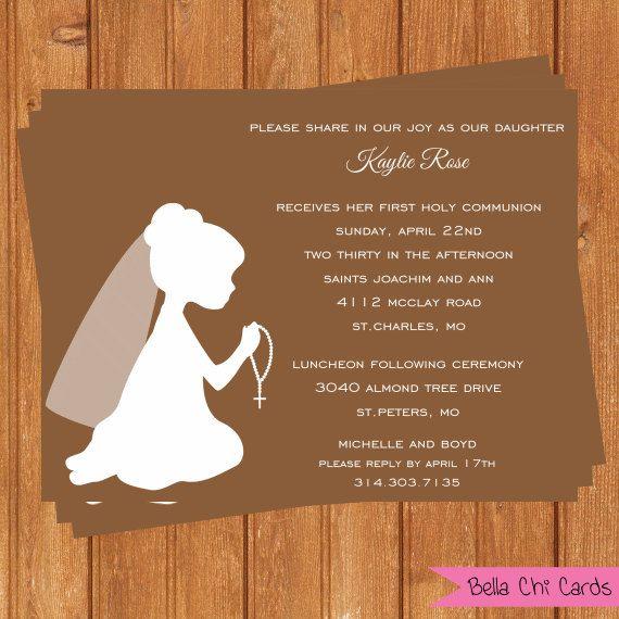 Girl Kneeling First Communion Invitations FCI102DIY Printable Digital File on Etsy, $14.00