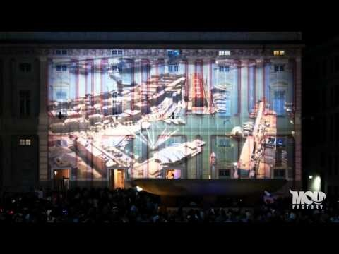 Projection mapping on Palazzo Ducale, Piazza Ferrari, Genova, Italy.  10 September 2011.