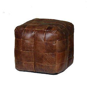 Patchwork Cube Beanbag | Italian Leather Bean Bag Footstool by curiosityinteriors