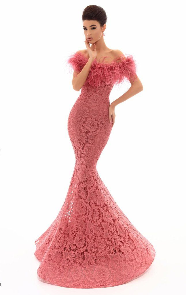 An allover lace Mermaid silhouette evening gown with an off shoulder feather 2dc8d679979c