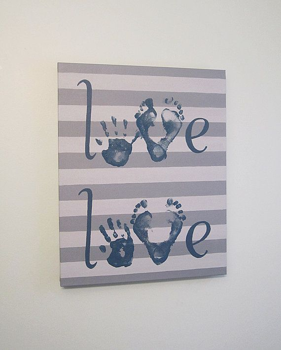 "Handprint and Footprint ""Love"" Canvas, 2 children, with Kit, Any Color, 16x20"" by SnowFlowerArts, $55.00"
