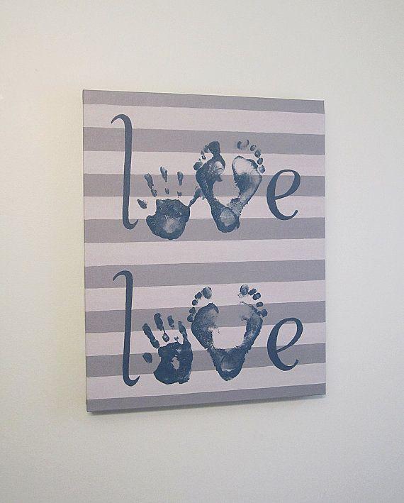 "Custom Love Handprint and Footprint Canvas Art with Print Kit, for 2 Children, Any Color, Stripe, Handpainted Keepsake, 16x20"""