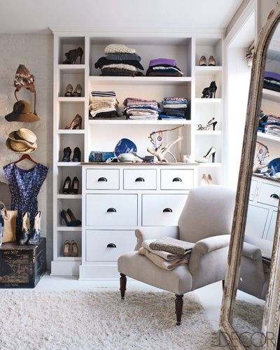 Good white wood Closet idea. White Closet. Some good Ideas. Varied Layout. Small. Reach in. One Wall.
