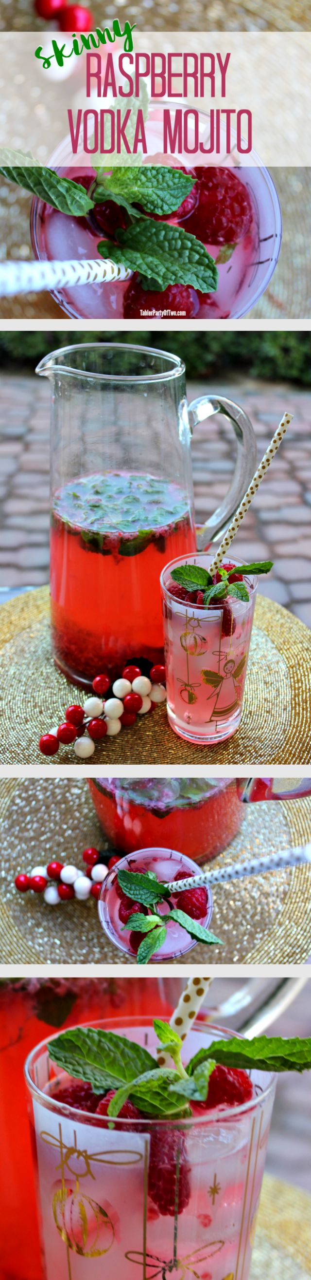 Perfect for NYE! Ring in the New Year with this amazingly delish Skinny Raspberry Vodka Mojito. You'll love it. Your guests will too! TablerPartyOfTwo.com