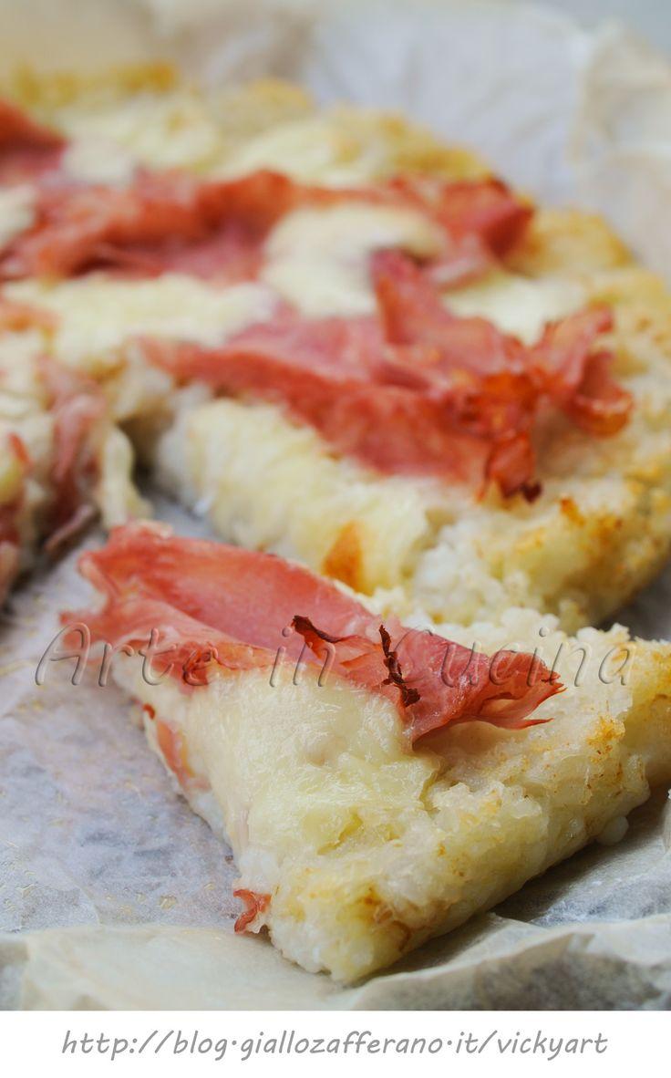 Pizza di riso con prosciutto e scamorza primo piatto vickyart arte in cucina