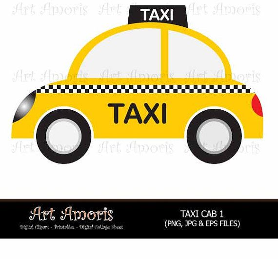 New York Taxi Cab, Cars, Yellow Car, Vehicle, Clipart, Digital Clip art,  Yellow Cab, Taxi Cab Scrapbook Public Transportation Vector TFP-30