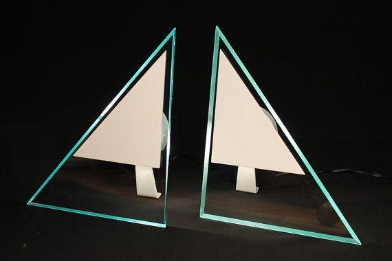 BEDSIDE 1980 TABLE LAMP Halogen thick glass triangle vintage modern 1980 era $549.54