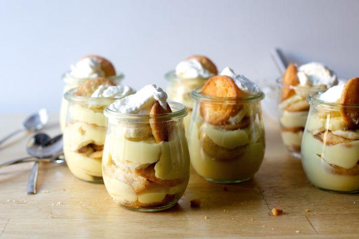 banana puddings with vanilla bean wafers