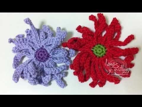 ▶ Tutorial Flor Margarita Crochet o Ganchillo Daisy (English subtitles) - YouTube