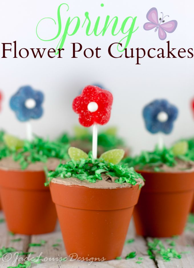 Flower Pot Cupcakes for Spring  Simple Creative baking that is fun for adults and kids! These are great for tea parties, or spring parties. Or even Easter!