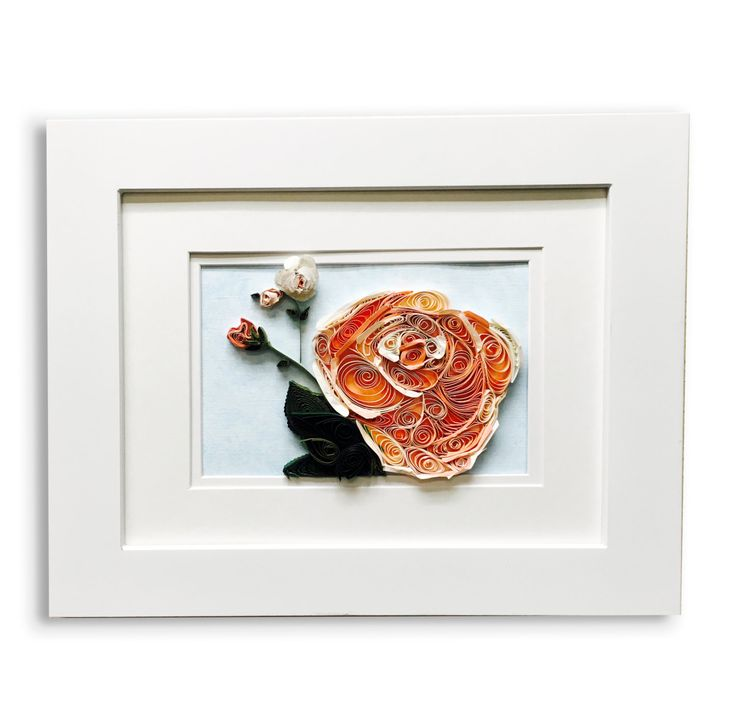peach quilled roses - quilled mosaic art - mosaic quilled art - mosaic art - flower mosaic art - mosaic flower art - flower abstract roses