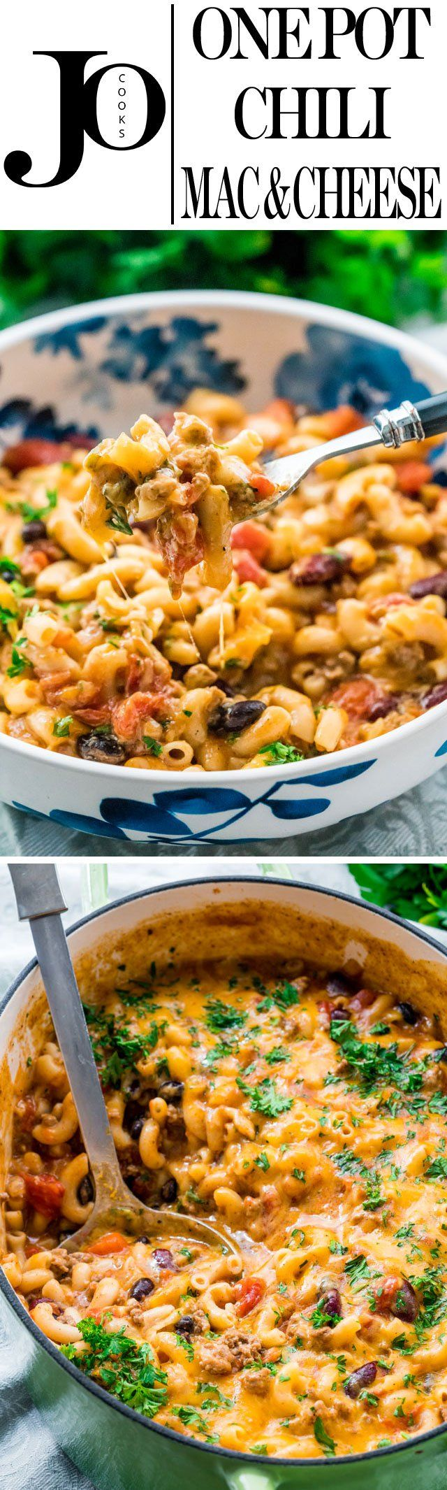 This One Pot Chili Mac and Cheese combines two great comfort foods all in one! Delicious and hearty, quick and comforting, perfect dinner for back to school and ready in under 30 minutes.