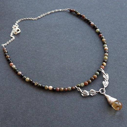 srebrny naszyjnik z kroplą cytrynu i turmalinem #garden #fall #jewelery