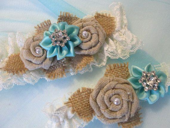 Aqua Blue Wedding Garter Set Light Teal / by GibsonGirlGarters