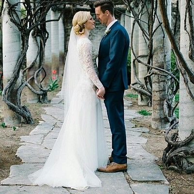 Modest wedding dress. Custom long sleeves. LDS Temple wedding. Lace and tulle dress.