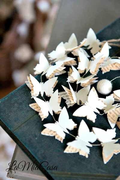 guirnalda de papel con forma de mariposas ideal para boda vintage butterfly shaped garlands