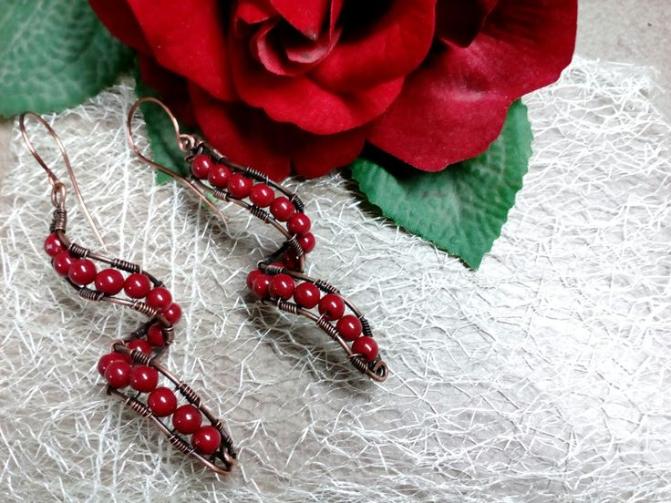 Σκουλαρίκια με χάντρες και χαλκό αντικέ